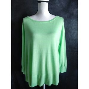 Halogen Lime Green Striped Button Back Sweater L